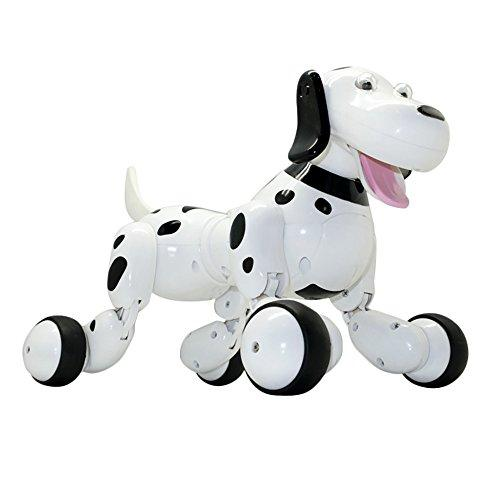 Dinglong RC Smart Dog, Wireless Remote Control Robot Interactive Puppy Dog Intelligent Electronic Pet Educational Toy - Sing/ Dance/ Walk/ Study Multi Mode - USB Charging (Black)