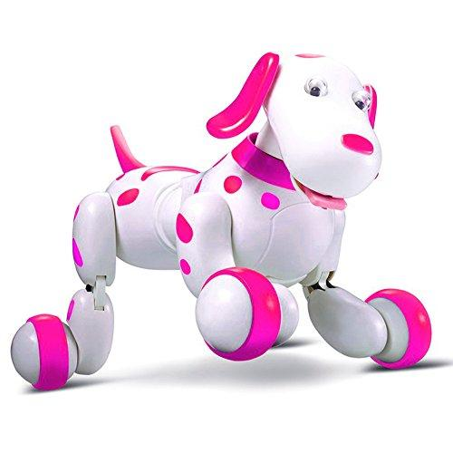 Dinglong RC Smart Dog, Wireless Remote Control Robot Interactive Puppy Dog Intelligent Electronic Pet Educational Toy - Sing/ Dance/ Walk/ Study Multi Mode - USB Charging (Pink)