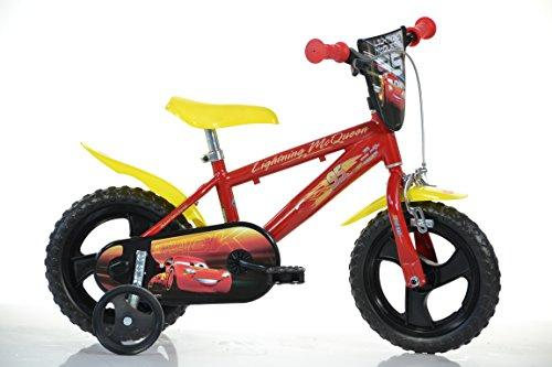 Dino CARS LIGHTNING 12 inch KIDSBIKE boy child-bike childrenbike bicycle toybike red, frontplate, mudguard, training-wheels, water-bottle, MTB,