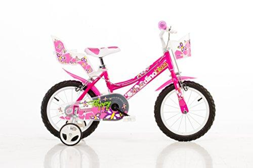 Dino City 14 inch KIDSBIKE 146R girl child-bike childrenbike bicycle toybike pink Dollycarrier frontbasket training- wheels mudguard