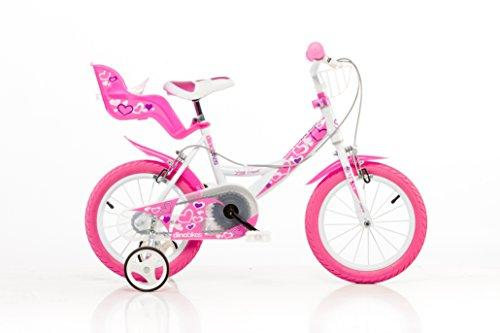 Dino Girl 16 inch KIDSBIKE 164RLN girl child-bike childrenbike bicycle toybike white-pink Dollycarrier frontbasket training-wheels mudguard
