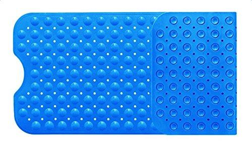 Diossad Bathtub Mat Blue Extra Long Non Toxic Vinyl Non Slip Safety Suction Cup Bathroom Shower Mat