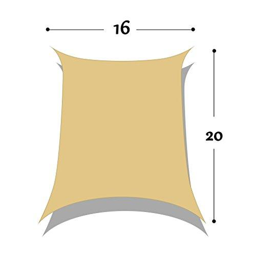 DIR 16' x 20' Rectangle Sun Shade Sail Uv Top Outdoor Canopy Patio Lawn Shade Sail in Color Sand