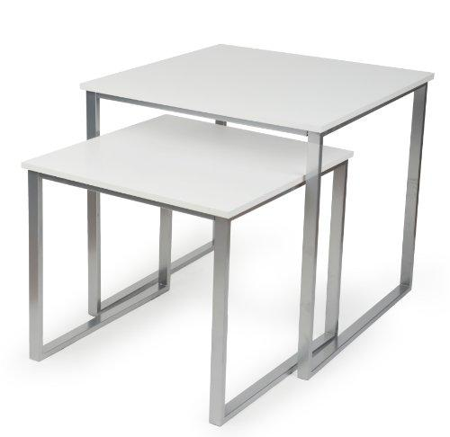 Displays2go Square Nesting Tables, White, Set of 2