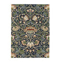 Diva At Home 8' x 11' Candelabra Bouquet Olive Green and Midnight Blue New Zealand Wool Area Throw Rug