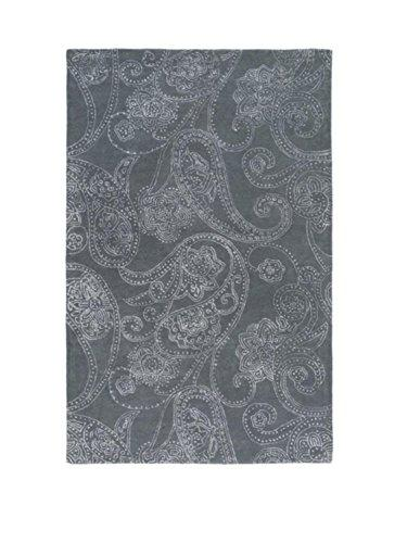 Diva At Home 9' x 13' Blooming Element Mouse Gray and Pearl White Hand Tufted Area Throw Rug