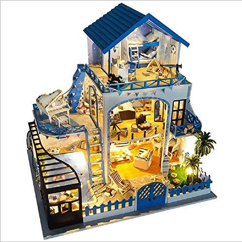 Diy Dolls House Miniature 3D Greenhouse Craft Kits, Aegean Handmade Doll House Model Toy Assembled Creative Birthday Gift