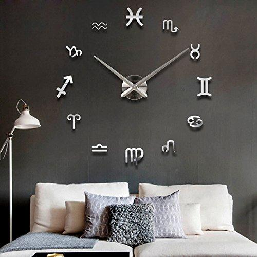 DIY Large Wall Clock 3D Mirror Sticker Big Watch Home Decor Unique Gift , sliver