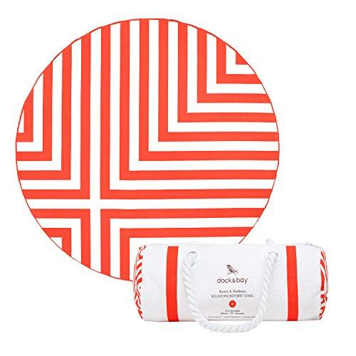 Dock & Bay Beach Towels Oversized Sand Free - Coral Red, Cross Design - 75x75 - circular beach towels, fast dry, XL beach mat