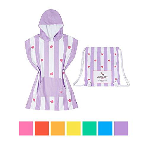 Dock & Bay Kids Hooded Poncho Swim Towel - Lovely Violet (Heart), Kids (4-7 years)- child bath robe poncho includes drawstring bag