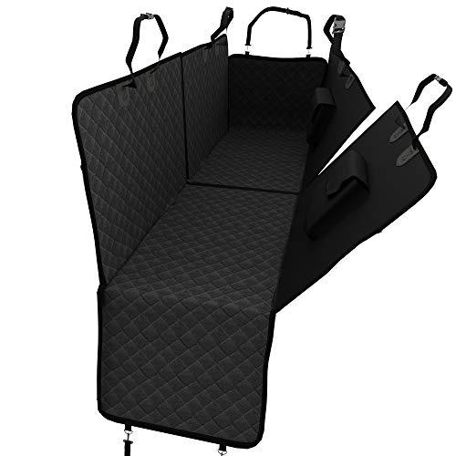 Dog Car Seat Cover for Rear Seat with Side Protection | Car Travel Hammock, 2 Pockets, Storage Bag | Separable Seat Blanket Waterproof Washable | Protective Nonslip Mat + Belt Opening, Universal Fit