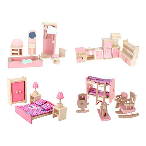 Dollhouse Furniture Set Bathroom Bedroom Kitchen Kid's Room Set (Pack of 4 Sets)