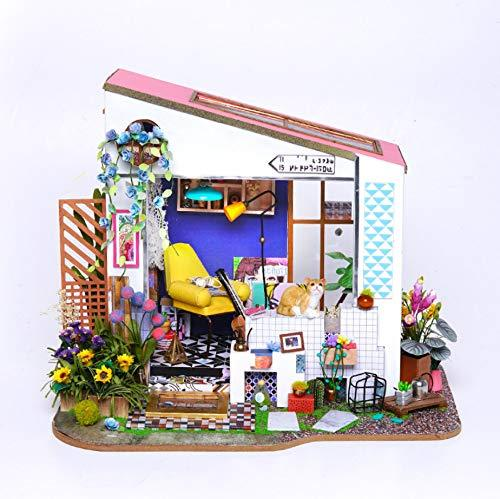 Dolls Houses Mini Greenhouse Crafts, Lily'S Porch Handmade Wooden Villa Assembled Art House Model
