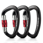 Domum 3pcs Locking Climbing Carabiner,Screwgate Carabiner Clips Holds 2200kg, CE Certified for Rock Climbing,Hammock, outdoor,Black