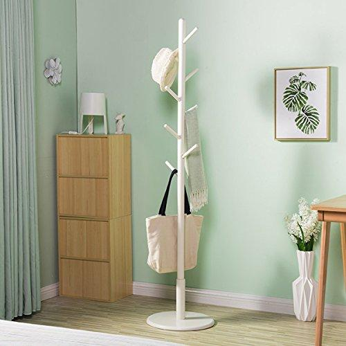 DONG Coat Rack Solid Wood Floorstanding Bedroom Removable Roundel Creative Coat Shelf (Height*Width: 172 * 40cm) White (Color : White)