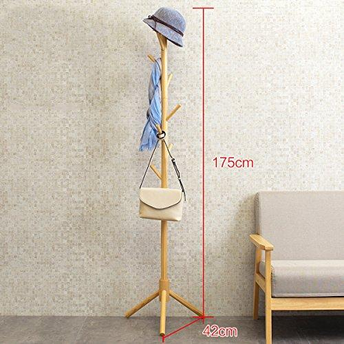DONG Coat Rack Solid wood Living room Bedroom Removable Floorstanding Cylindrical Style Coat Rack (175 * 42cm) White (Color : Khaki)