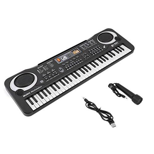 Dooret 61 Keys Digital Music Electronic Keyboard Board, Electric Piano Organ, Piano for Kids, Musical Teaching Keyboard Toy, Portable Digital Piano Keyboard with Microphone