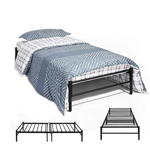 DORAFAIR Black Single Bed Frame Metal Bed Base Portable Bed Designer Kids Teens Adults,Single Day Bed Trundle Bed with Solid Metal Slat