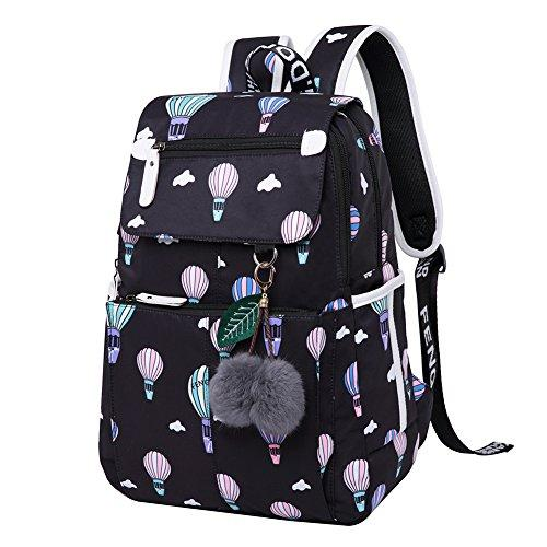 Dorchid School Backpack Bookbag College Laptop with USB Charging Port & Headphone Interface Casual Travel Daypack for Teen Girls and Women, Fits 15.6 inch Laptop/Notebook/Tablet Ballon-Black