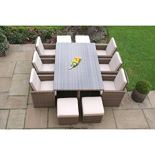 Dorset Rattan Garden Furniture 7 Piece Cube Dining Set with Footstools