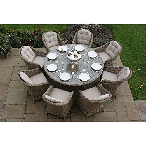 Dorset Rattan Garden Furniture 8 Seater Round Dining Set
