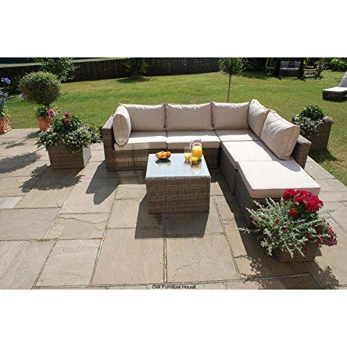Dorset Rattan Garden Furniture Square Corner Sofa Set Group