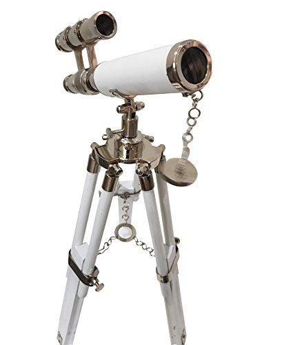 Double Barrel Marine White Leather Covered Telescope Nautical Handmade White Tripod Fully Functional and Fully White And Nickel telescope Antique Home Decoration - Table Top Tripod Telescope