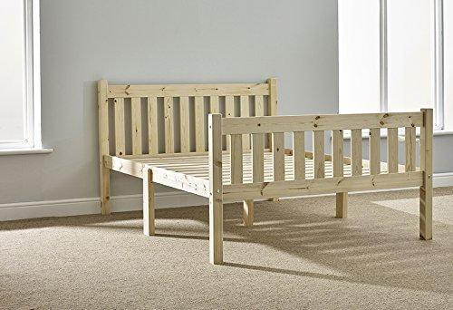 Double Pine Bed 4ft 6 -Heavy Duty Shaker Style Double Bed Wooden Frame with extra wide base slats and centre rail - VERY STRONG