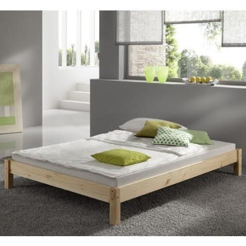 Double Pine Bed 4ft 6 with mattress - Studio Double Bed Wooden Frame with extra wide base slats and centre rail - VERY STRONG - INCLUDES 15cm thick (5inch) sprung mattress