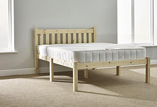 Double pine bed 4ft small double bed frame- Solid Pine. Complete with solid base slats and centre rail - INCLUDES 20cm thick sprung mattress