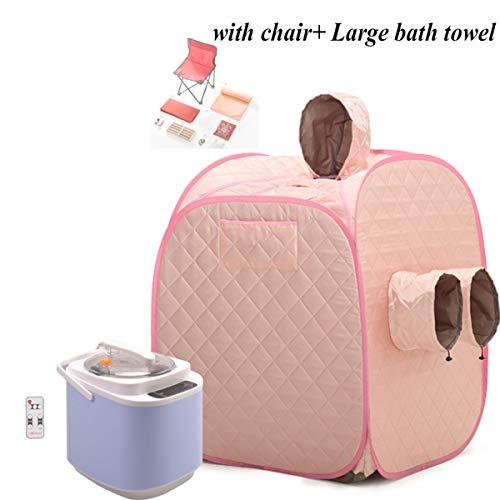 Double Using Home Steam Sauna with Steamed Feet Mouth, Portable Folding Sauna Kits- 2L Sauna Steamer Pot Machine, Thicken Tent, Chair And Bath Towel, Personal Sauna for Detox And Weight Loss,pink