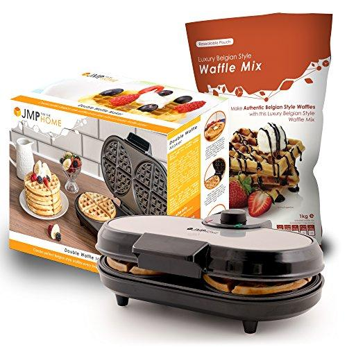 Double Waffle Maker with 1kg of Luxury Belgian Style Waffle Mix-Perfect results