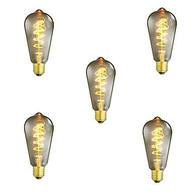 DP 5pcs Dimmable ST64 40W E27 Vintage Edison Bulb Warm White Incandescent Light Lamp Decorative Light bulb Filament Bulb AC220-240V