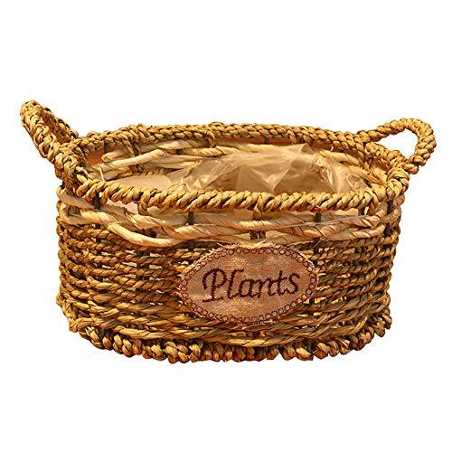 dragonaur 2Pcs/Set Indoor Outdoor Handmade Straw Braided Plant Flower Basket Garden Decor Magazine Toy Storage Basket