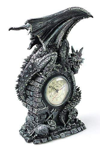Dragons Antiqued Mantel Desktop Clock, Medieval Fire Dragon Collection Home Decor