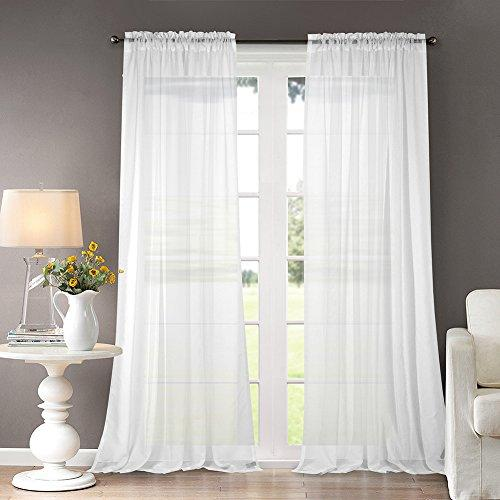 Dreaming Casa White Curtains Voile Bedroom Classical Solid Sheer Voile Curtain White For Living Room High Thread with Rod Pocket 2 Panels 66X90 Inch Drop