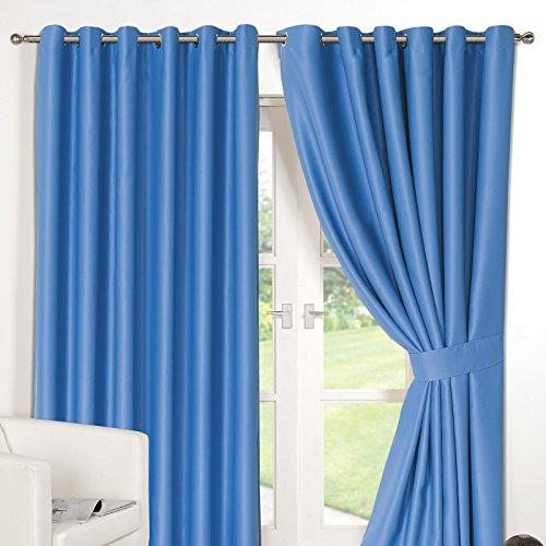 "Dreamscene 46x72"" Luxury Ring Top Fully Lined Pair Thermal Blackout Eyelet Curtains with Tiebacks Duck Egg Blue"