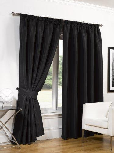 Dreamscene Luxury Faux Silk Blackout Curtains Including Tiebacks, Polyester Black, 66 x 54-Inch