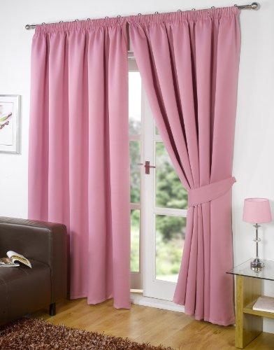 Dreamscene Luxury Fully Lined Pair Thermal Blackout Pencil Pleat Curtains with Tiebacks,, Pink 90x54
