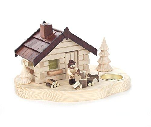 DREGENO Seiffen eG Incense House with Wood Chopper, Tea Light Holder, Wood, natural, 21 x 16 x 11 cm