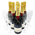 Drinx Moet and Chandon Party Pack with 6 Brut Imperial Champagneand 6 Flutes NV 75 cl (Case of 6)