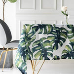 Drizzle Table Cloth Monstera Leaf Plant Palm Tree Rectangular Square Folding Table Cover Waterproof Polyester Cotton Country Garden for Kitchen Furniture (55 * 99in/140 * 250cm)