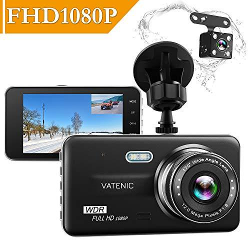 "Dual Dash Cam Car Camera Recorder Full HD 1080P Front And Rear Cameras,Driving loop Recording With 4.0"" IPS Screen 170°Wide Angle, WDR,Parking Monitor, G-Sensor, Night Vision, Motion Detection"