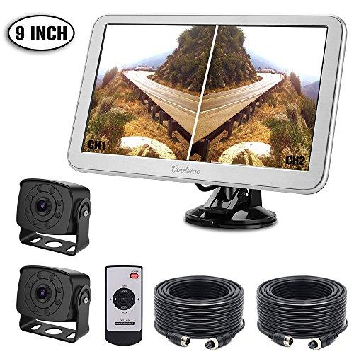 Dual Reversing Camera, 2 Reverse Camera with 9'' LCD Monitor, IP68 Waterproof Rear View Backup Camera with Night Vision for Vans,Trucks,Camping Cars,RVs