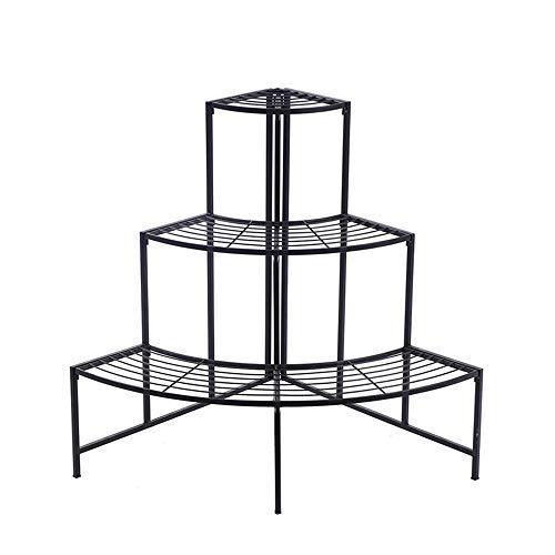 Duan hai rong DHR Flower Stand Multi-layer Iron Art Sector Flower Plate Floor-standing Shelf Balcony Outdoor Indoor Potted Plant Storage Shelf Black Plant storage rack (Shape : Sector)