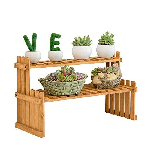 Duan hai rong DHR Flower Stand Solid Wood Shelves Space Saving Decoration Storage Shelf Balcony Office Desktop Multi-layer Plant Stand Plant storage rack (Size : 37x20x30cm)