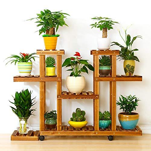 Duan hai rong DHR Solid wood Flower stand Plant flower Storage shelf Multi-layer balcony indoor Bonsai Shelf Assembly plant decoration Bracket Plant storage rack (Size : 120cmx25cmx85cm)