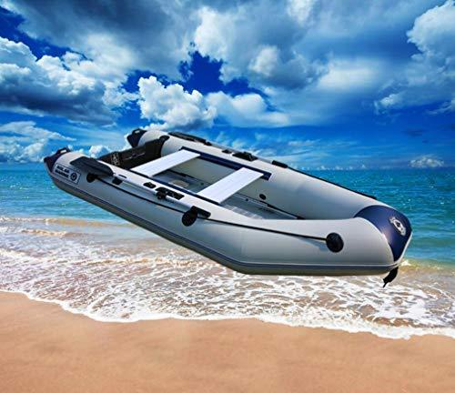 DUBAOBAO Drawing bottom charge boat suitable for 2-4 people, charge boat speedboat inflatable boat rubber dinghy thickened wear-resistant hard bottom, gift inflatable raft and paddle,3.0M