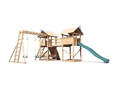 Dunster House Huge Kids Wooden Climbing Frame Slide Swing Set ...