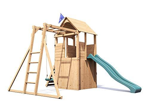 Dunster House Wooden Playhouse Climbing Frame Childrens Outdoor Play ...